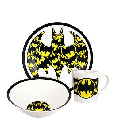 Batman  sc 1 st  Pinterest & Batman Logo Three-Piece Dinnerware Set #zulily #zulilyfinds ...