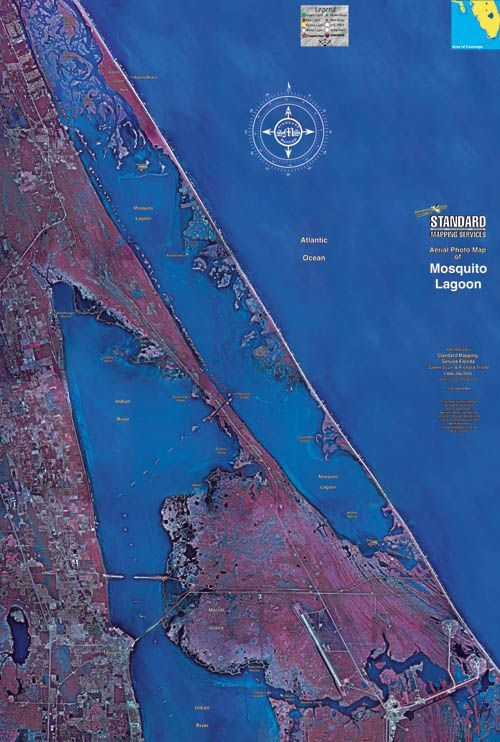 Indian River Florida Map.Aerial Map Of Mosquito Lagoon And Indian River Mosquito Lagoon