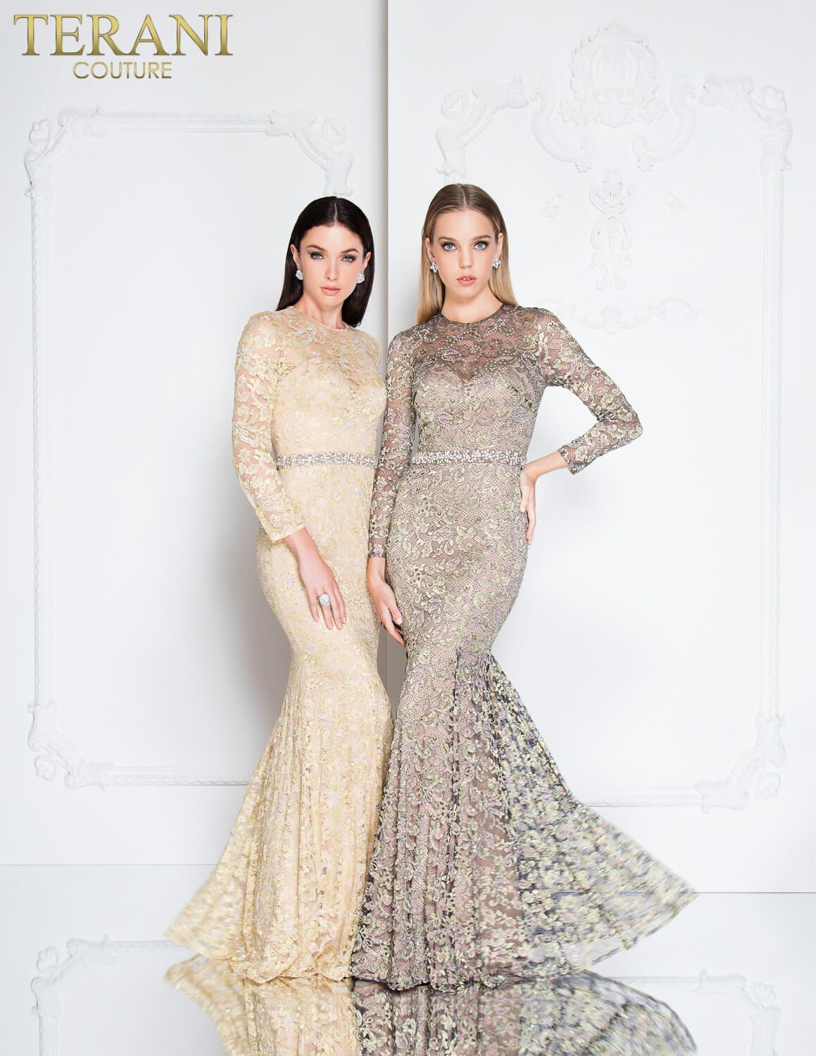 Long sleeved laced gown with embellished belt and mermaid finish