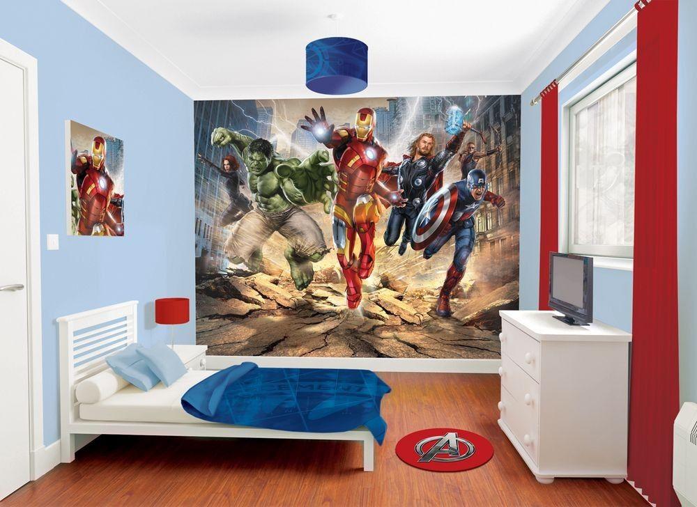 Kids bedroom ides avenger bedroom decor theme ideas for Avengers wall mural amazon