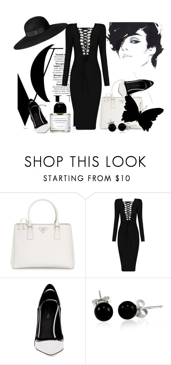"""Black and White!"" by schneerose ❤ liked on Polyvore featuring Prada, H&M, Greymer and Bling Jewelry"