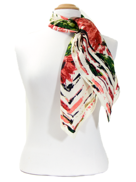 foulard carre de soie corail marguerites   mesecharpes.com   Pinterest 0c2d1310b5a