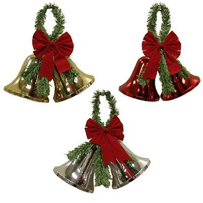 http://artsandcraftsideas.info/xmas-bell-decoration-pack-of-12/ - Plastic bells with plastic garland and red flock bow. 6 loop bow with center knot and green pine garland loop...