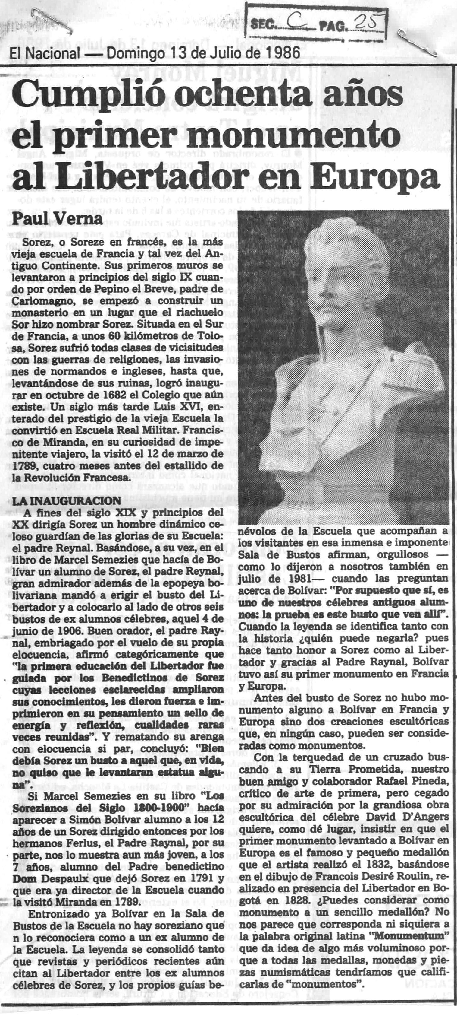 Cumplió 80 años el primer monumento al Libertador en Europa. Publicado el 13 de julio de 1986.