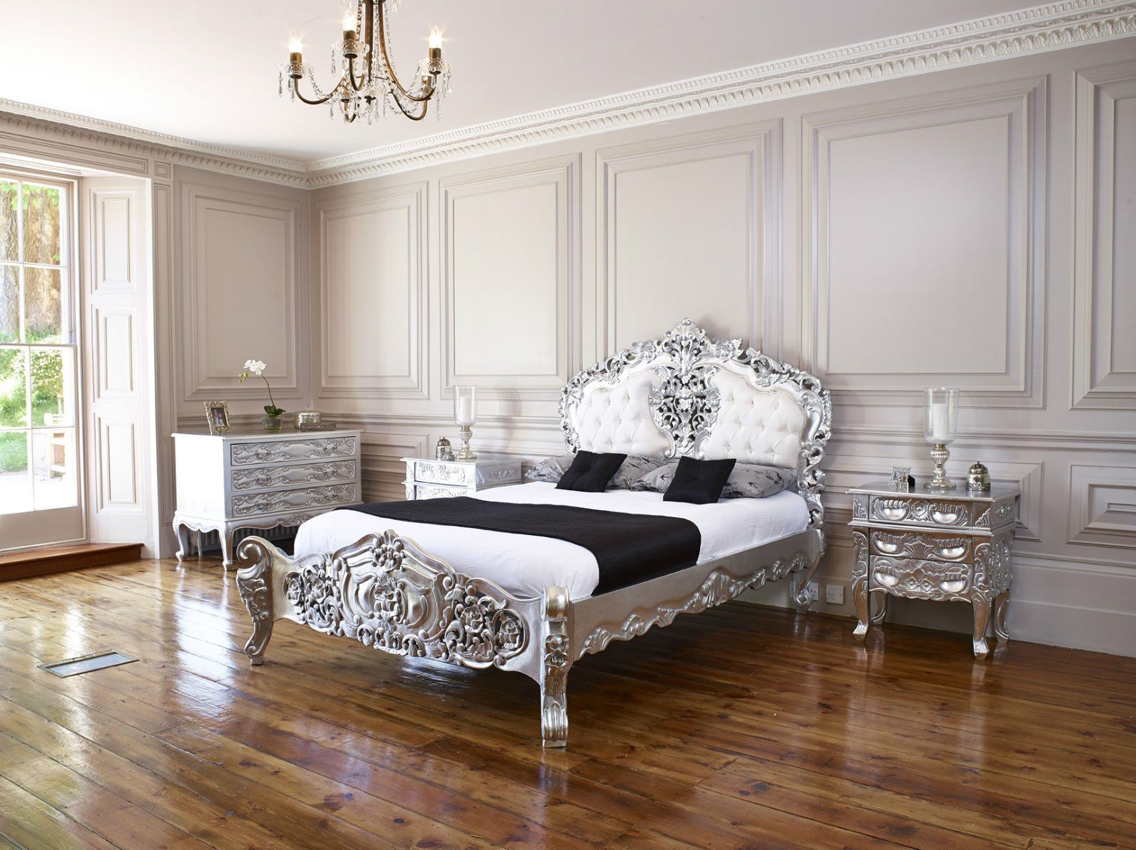 Silver leaf French / Italian Rococo super king size bed