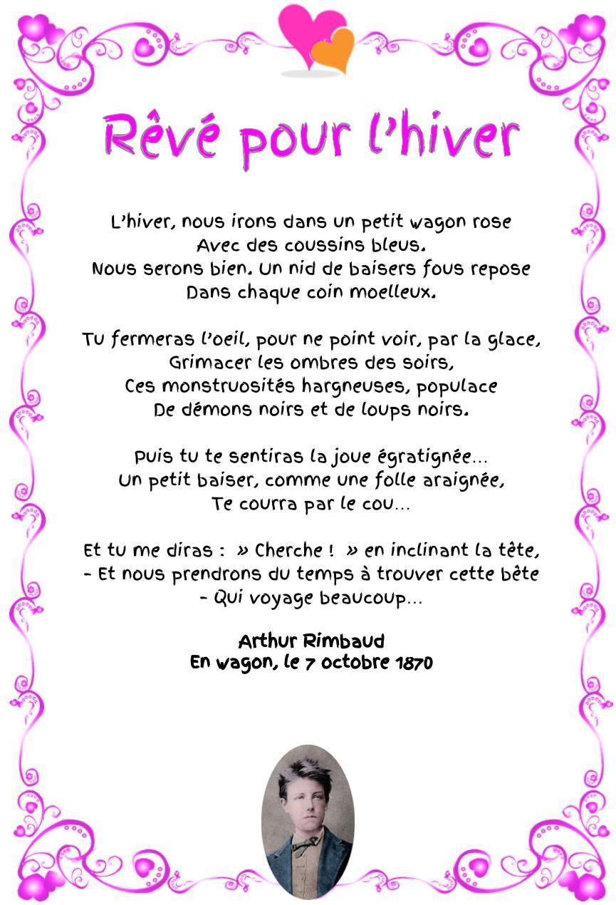 Rêvé Pour Lhiver Arthur Rimbaud Poesie D Amour Et Hiver