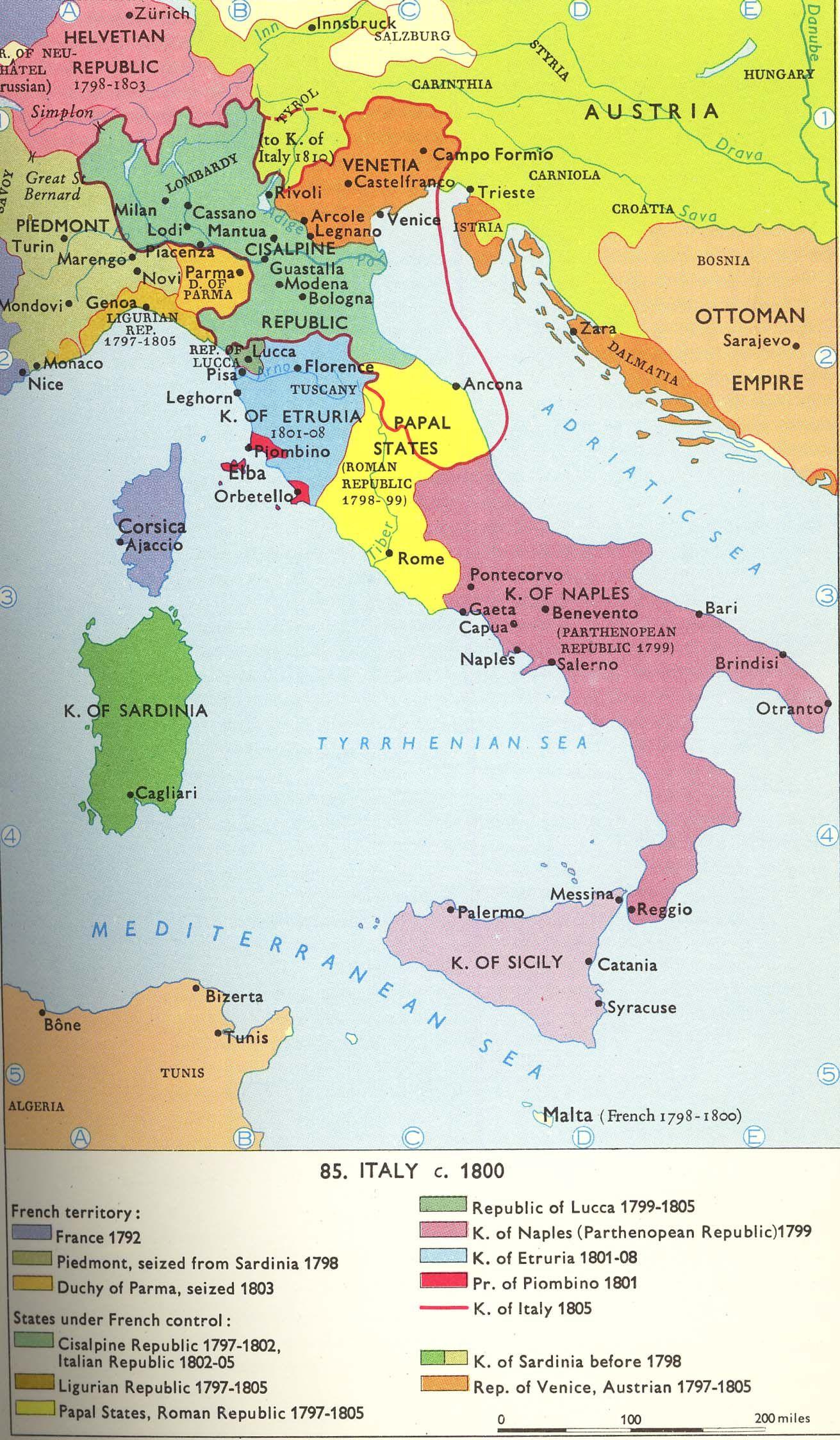 Map Of France 1800.C 1800 Italian Peninsula French Revolution Napoleonic Phase