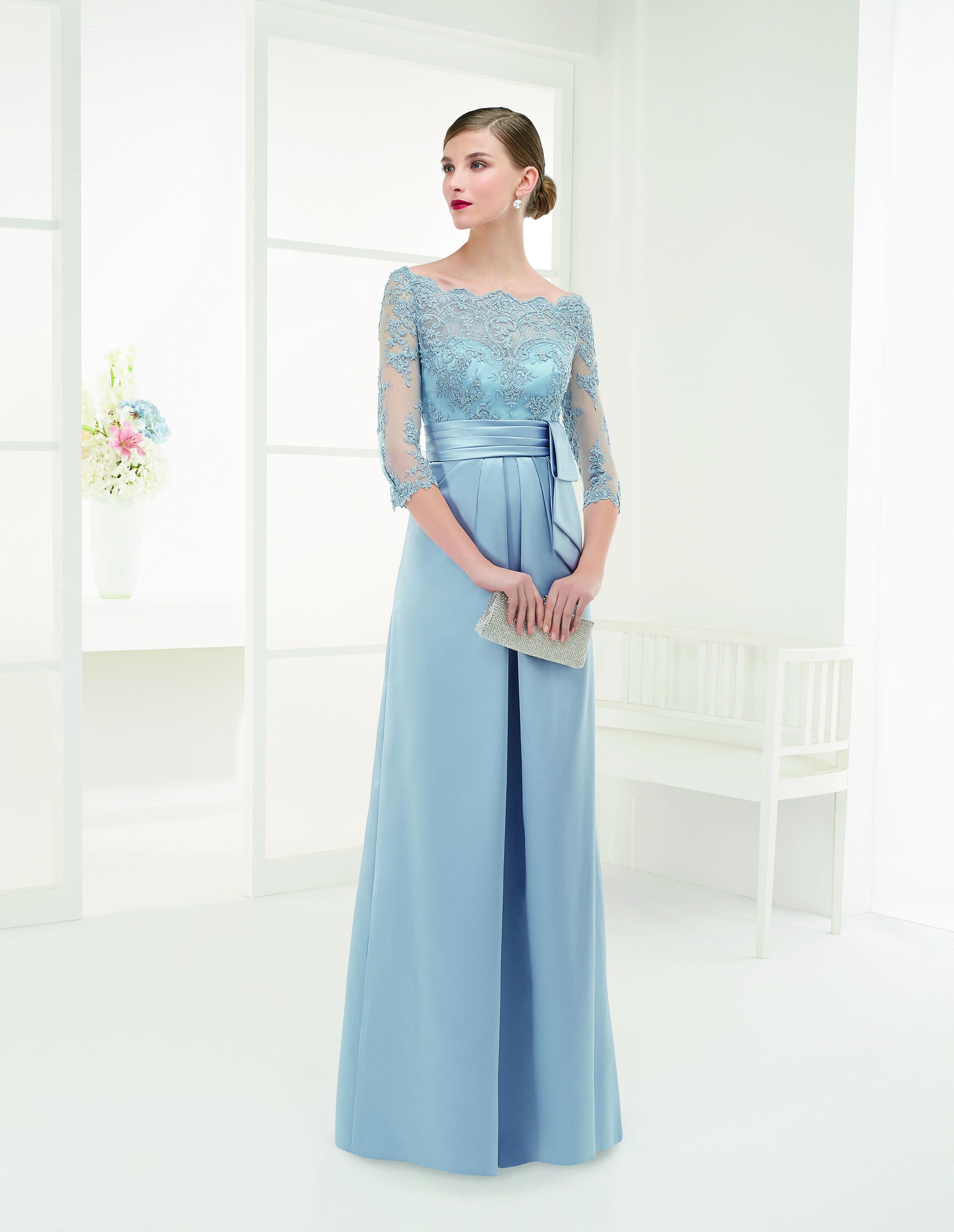 Modelo 9G1A5| vestido de fiesta en raso, encaje y pedrería | Couture ...