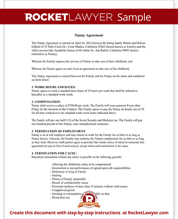 Nanny Contract Template  Free Nanny Employment Agreement With