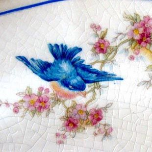 Vinetage Bluebird platters, pottery and dishes.