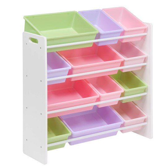 Honey Can Do White Pastel Kids Toy Room Storage Organizer With Totes Michaels Toy Room Storage Kids Storage Kids Storage Bins