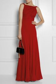 Saint LaurentHand-pleated silk-georgette gown