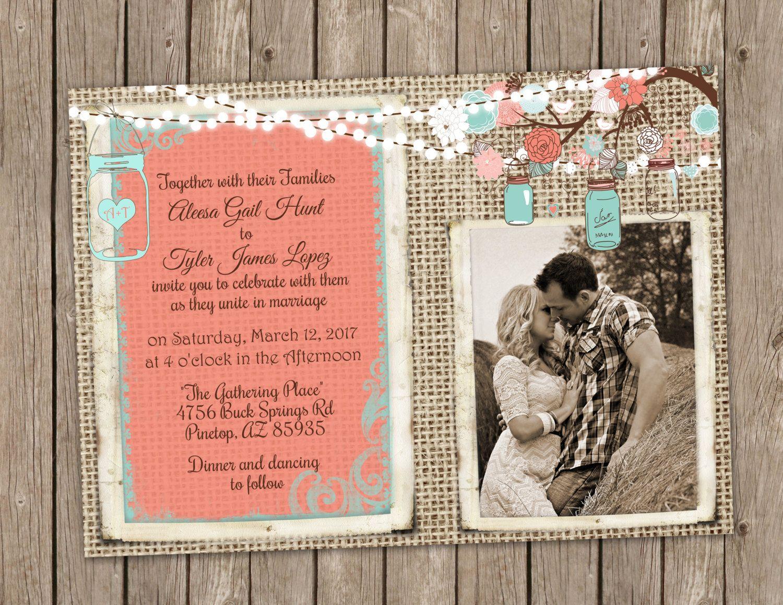 Coral and Turquoise Wedding Invitation Mason Jar Wedding Floral