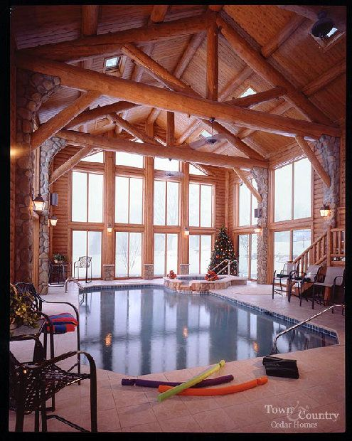 Log indoor pool pools pool house decor pool house - Log cabins with indoor swimming pools ...