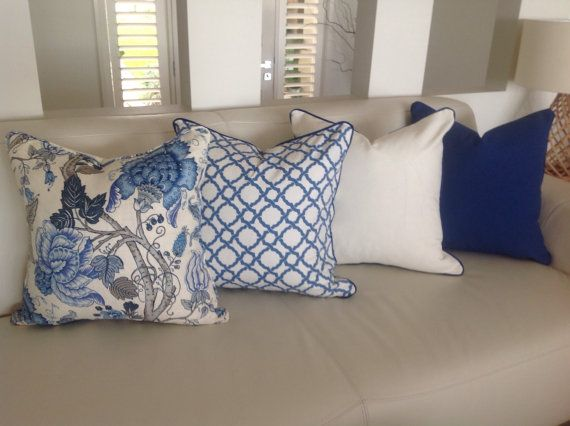 Hamptons Style Linen Cushions Designer Pillows Blue White Cornflower