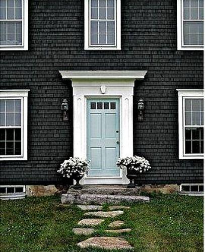 Dark gray exterior light blue door dreamy exterior - Door colors for gray house ...
