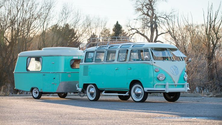 A 1963 VW Bus with Matching Tow-Behind. 'Nuff Said. #volkswagen