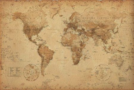 Antique style world map poster size 36 x 24 poster print36x24 antique style world map poster size 36 x 24 poster print gumiabroncs Gallery