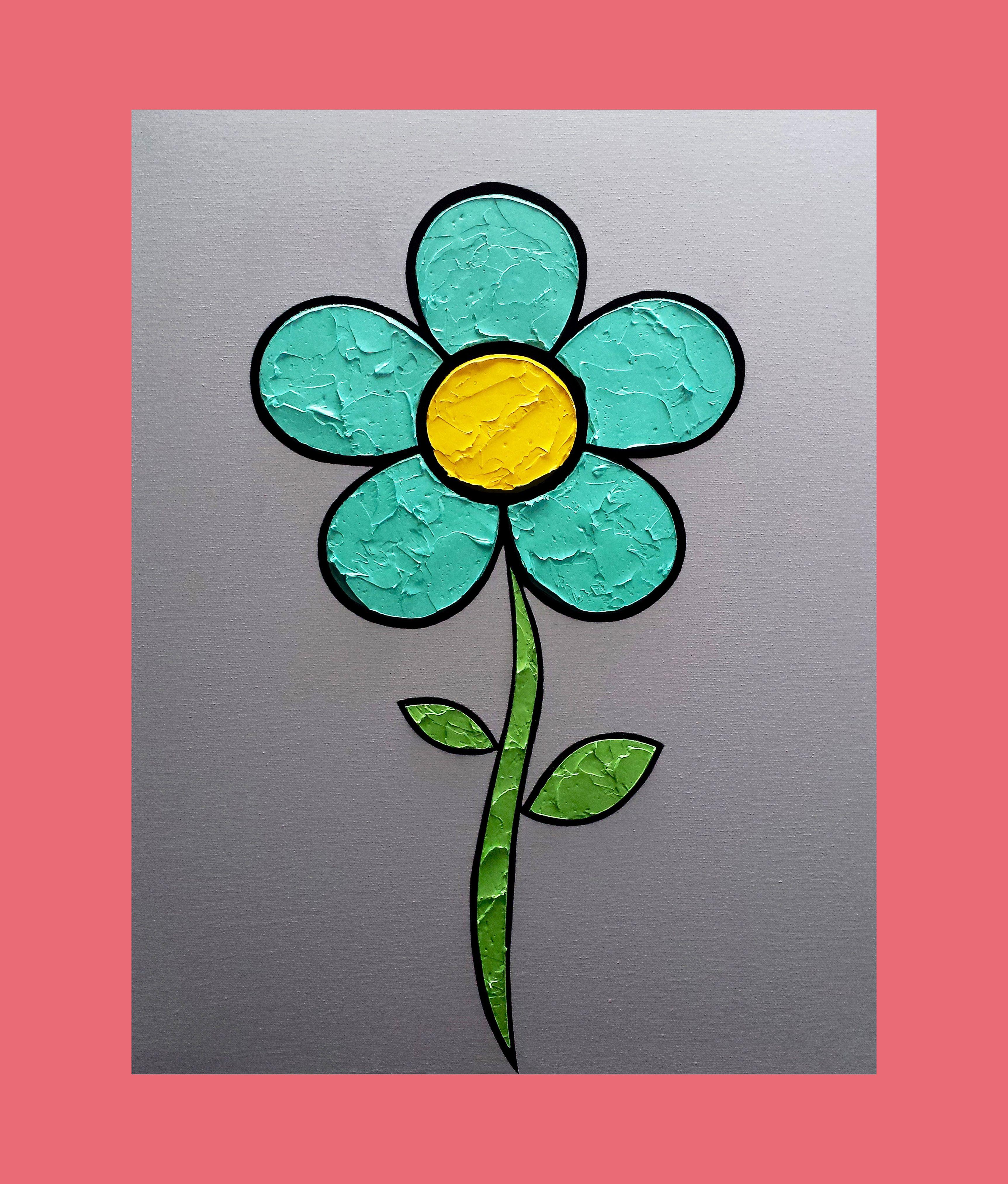 Flower 16 x 20 in. Canvas #LiteralPopArt #PopArt #Art #Flowers #Petals #Nature #Garden Organic #Green #GoingGreen #Turquoise #MichaelCrayola #2017