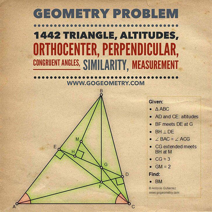Geometry Problem 1442 Triangle, Altitudes, Orthocenter