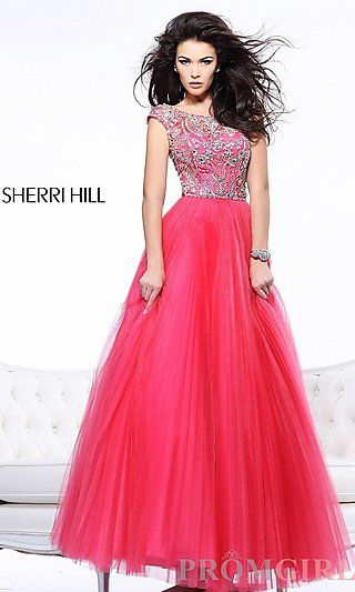 Embellished Ball Gown with Cap Sleeves at PromGirl.com