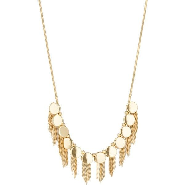 Vince Camuto Coin Fringe Necklace (£17) ❤ liked on Polyvore featuring jewelry, necklaces, goldt, chain tassel necklace, tassle necklace, chain fringe necklace, coin jewelry and chain necklace