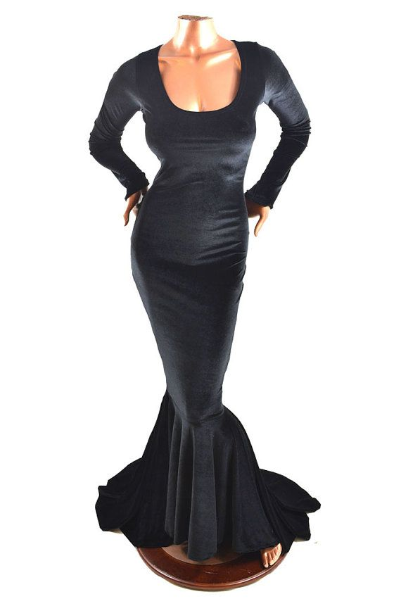 7d8884f64b8 Bewitching Long Black Morticia Gown in Black by CoquetryClothing ...