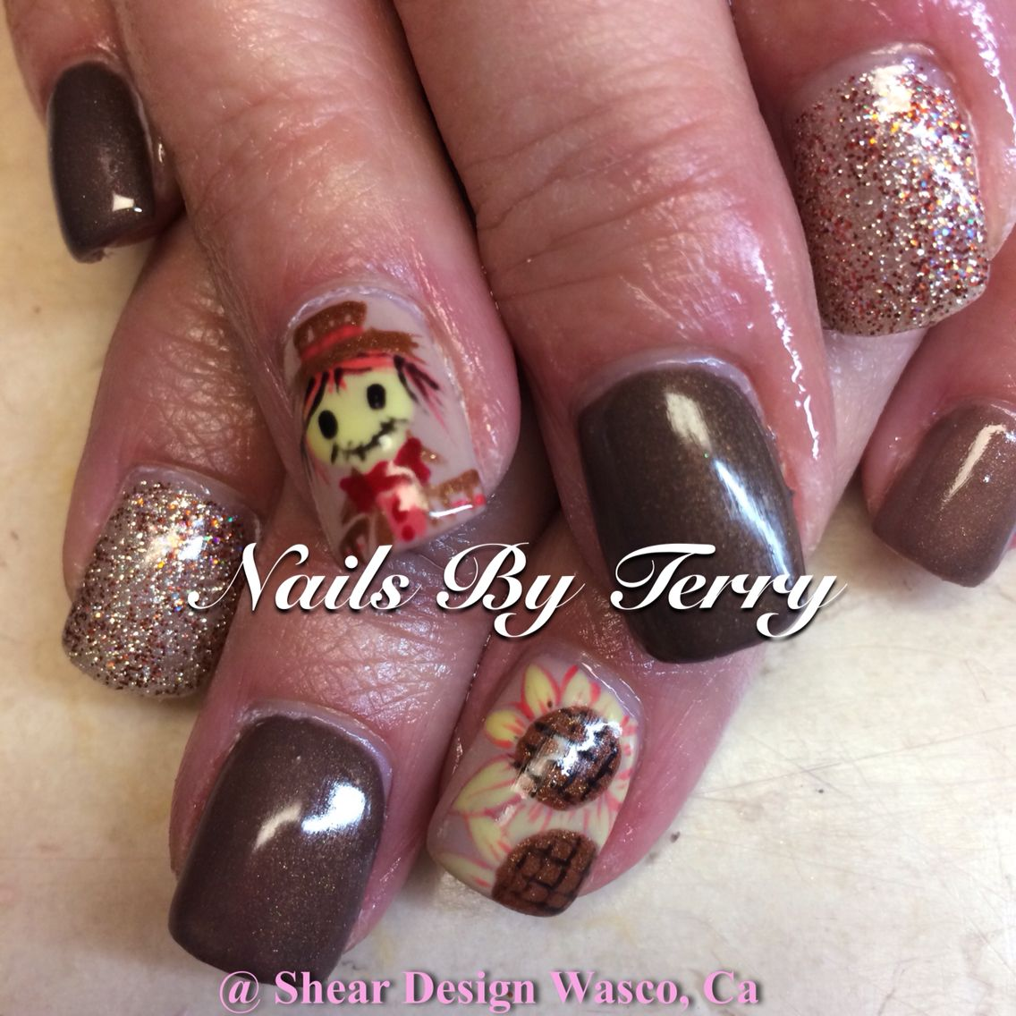 Scarecrow and sunflower fall nails | Fall nails | Pinterest ...