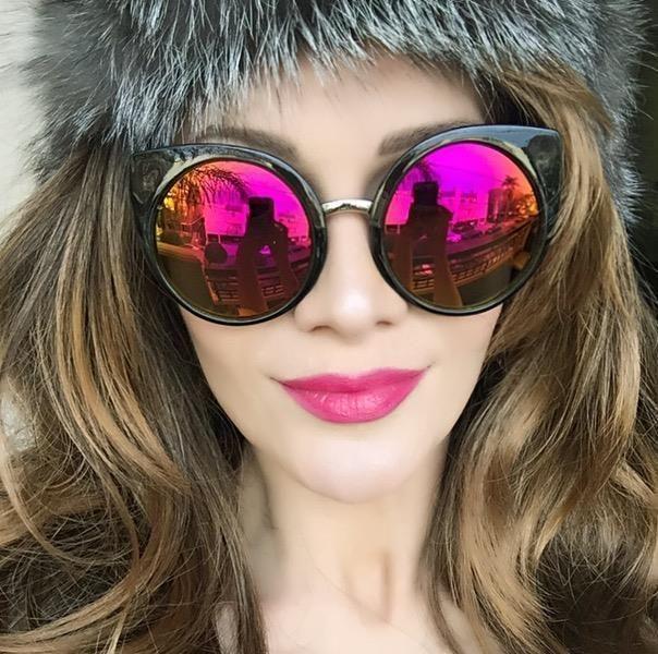 Large Cat Eye Round Circle China Doll Celebrity Designer Big Sunglasses 6734 NEW