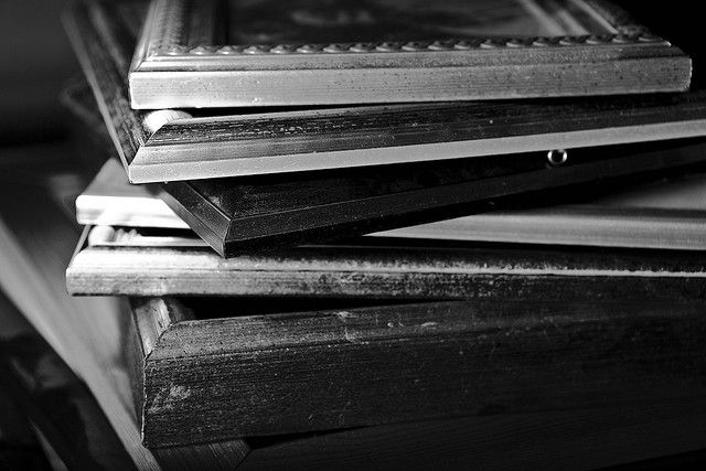 A pile of old, used picture frames. Some of them dusty, some of them where the glass is broken.    What do you do when your walls are full, we all have finite space to put our pictures on our walls.    68/365     . Cool! You can see some great frames here: