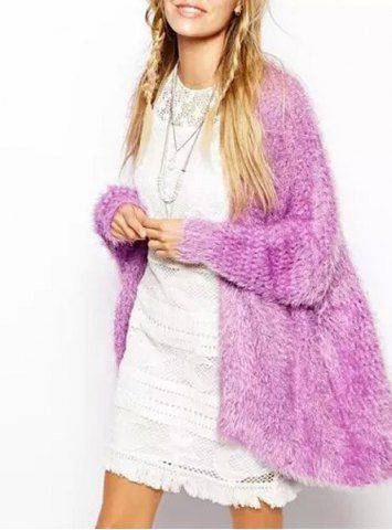 Fashionable Collarless Long Sleeve Solid Color Women's CardiganSweaters & Cardigans   RoseGal.com