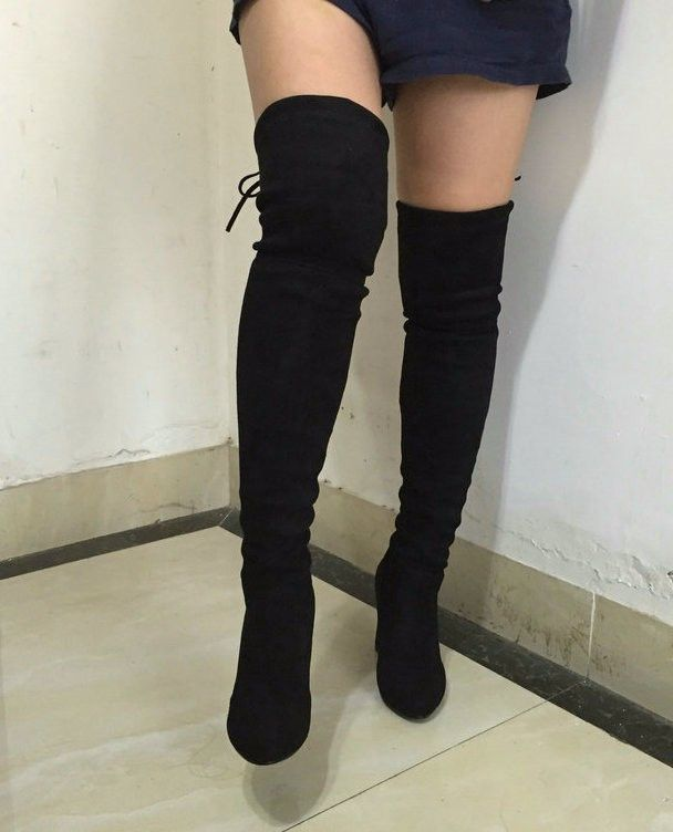 4d1c54f73d9 Women Stretch Suede Slim Thigh High Sexy boots