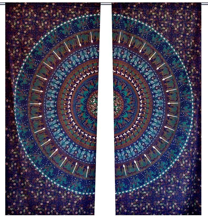 Indian mandala curtain panel bohemian living room tab top - Curtain ideas for living room india ...