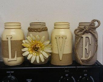 Mason Jar Decor House Warming House Warming Gift Mason Jar Decor Twine Burlap