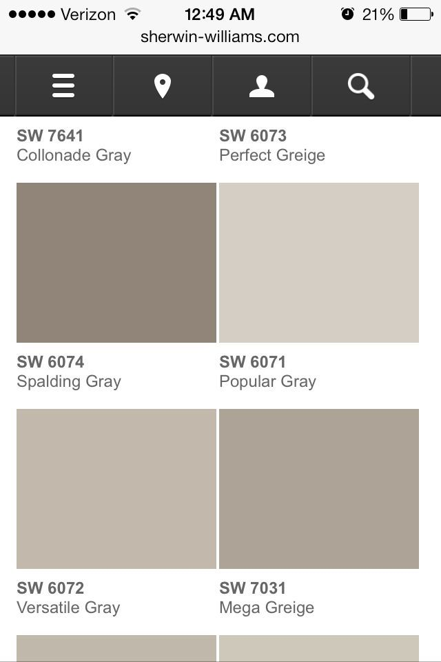 Garden Centre: Sherwin Williams Popular Gray & Versatile Gray. (Popular