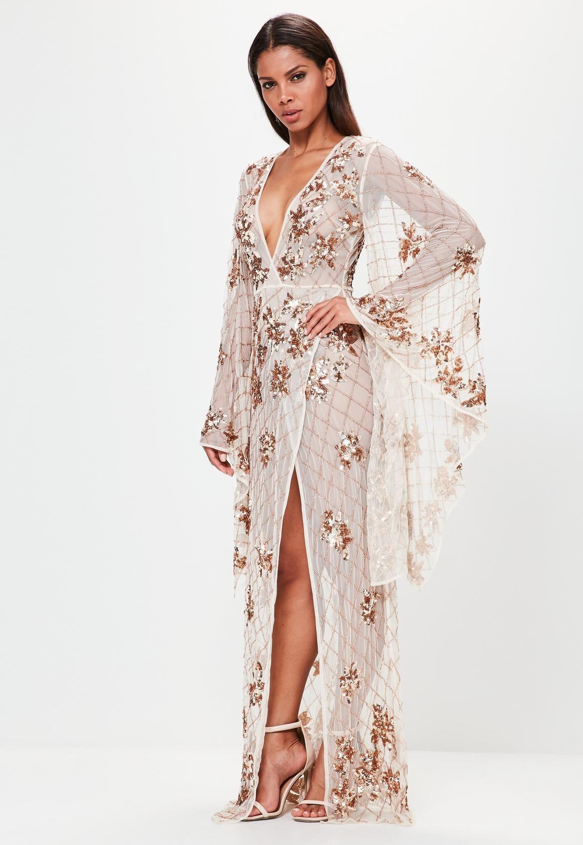 5032a898d870c Peace + Love Nude Kimono Sleeve Embellished Maxi Dress   Luxury ...