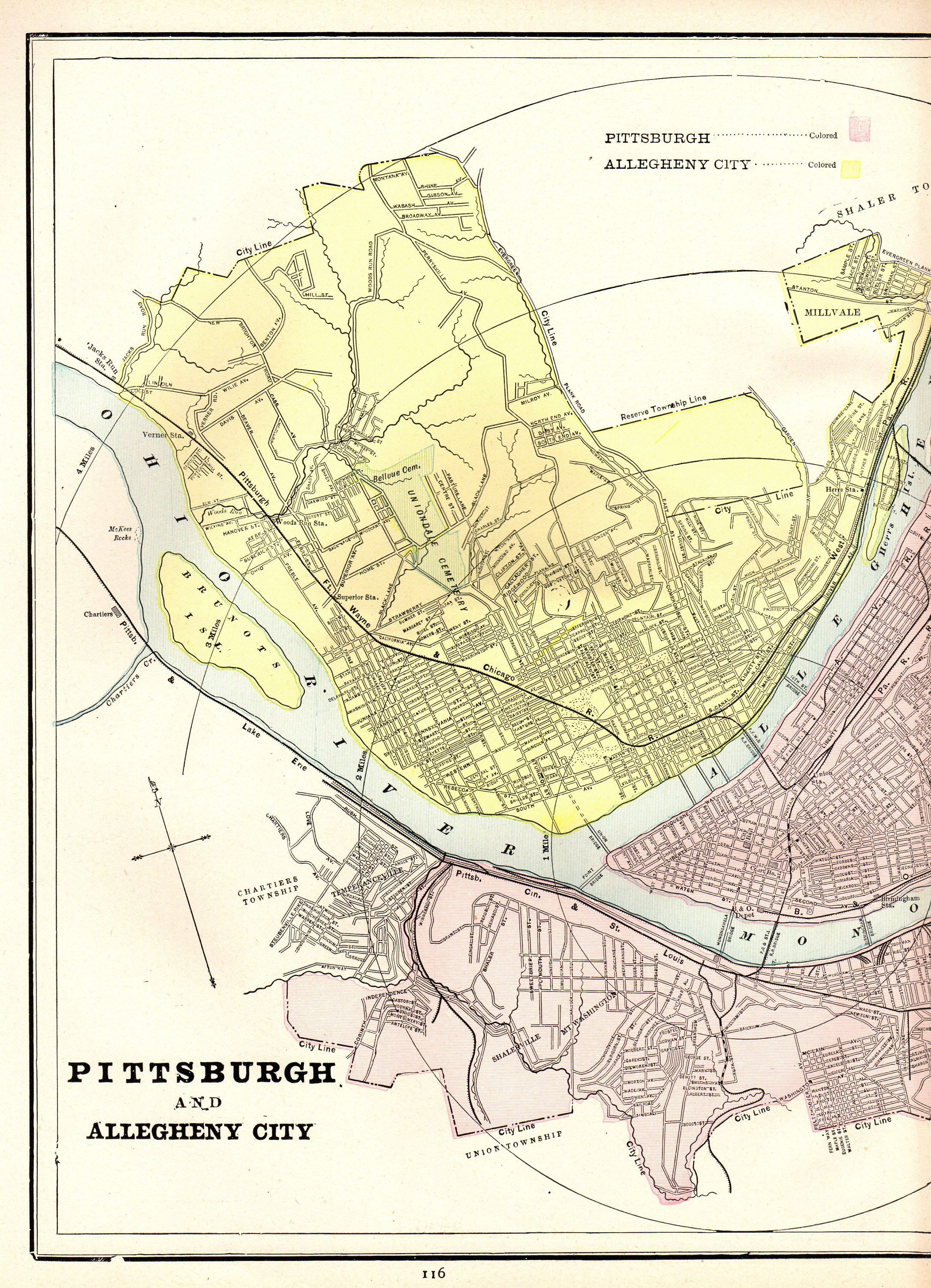 1886 Antique Pittsburgh Map Of Pittsburgh City Map Gallery Wall Art