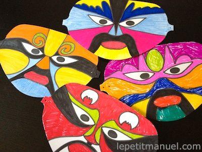 dessiner des masques pour le nouvel an chinois masks for chinese new year le petit manuel. Black Bedroom Furniture Sets. Home Design Ideas