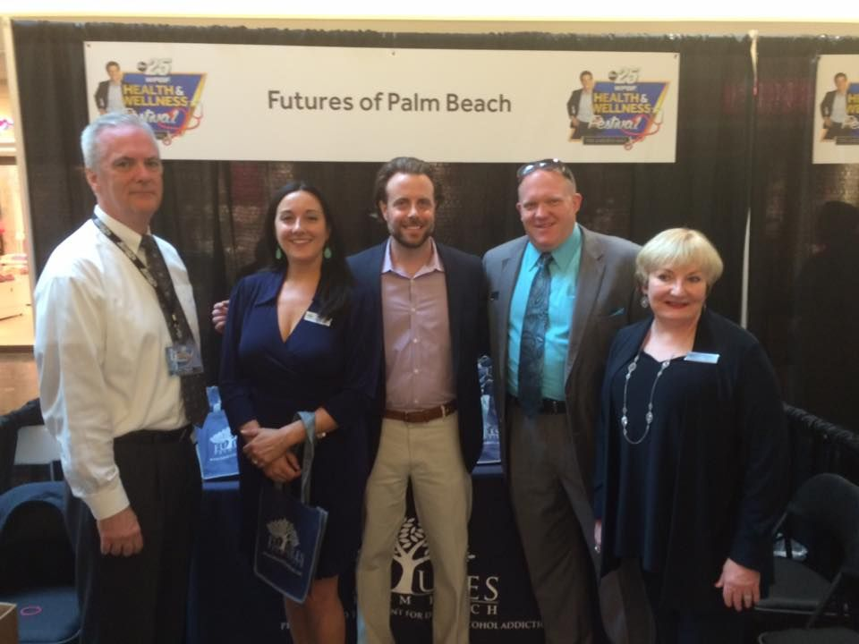 Futures of Palm Beach exhibit booth with John Maguire, Laura Kunz, Ryan Miller, Bruce Pilarczyk and Valerie Jackson