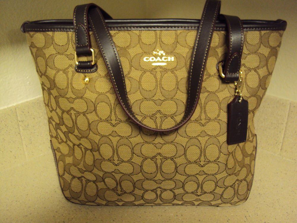 New Coach F58282 58282 Outline Signature Zip Top Tote Handbag Khaki Brown   fashion  clothing  shoes  accessories  womensbagshandbags ... d43d5b5ae2809