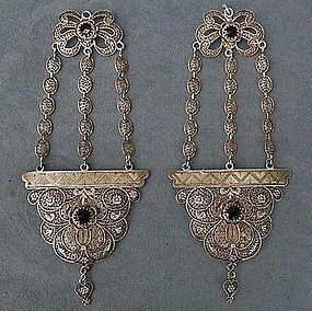 Antique Qing Dynasty Chinese Silver Filigree Earrings