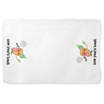 New Year\'s Toast Cartoon Kitchen Towel