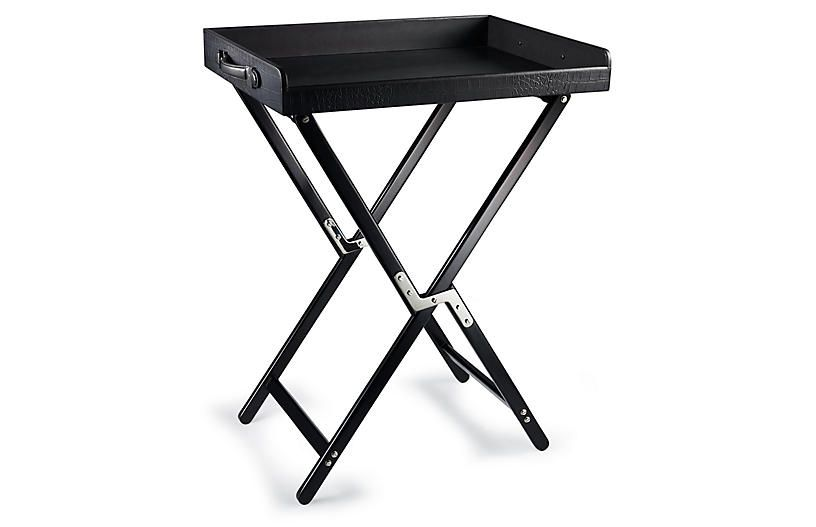 Theodore Butler S Tray Table Black Leather Ralph Lauren Home