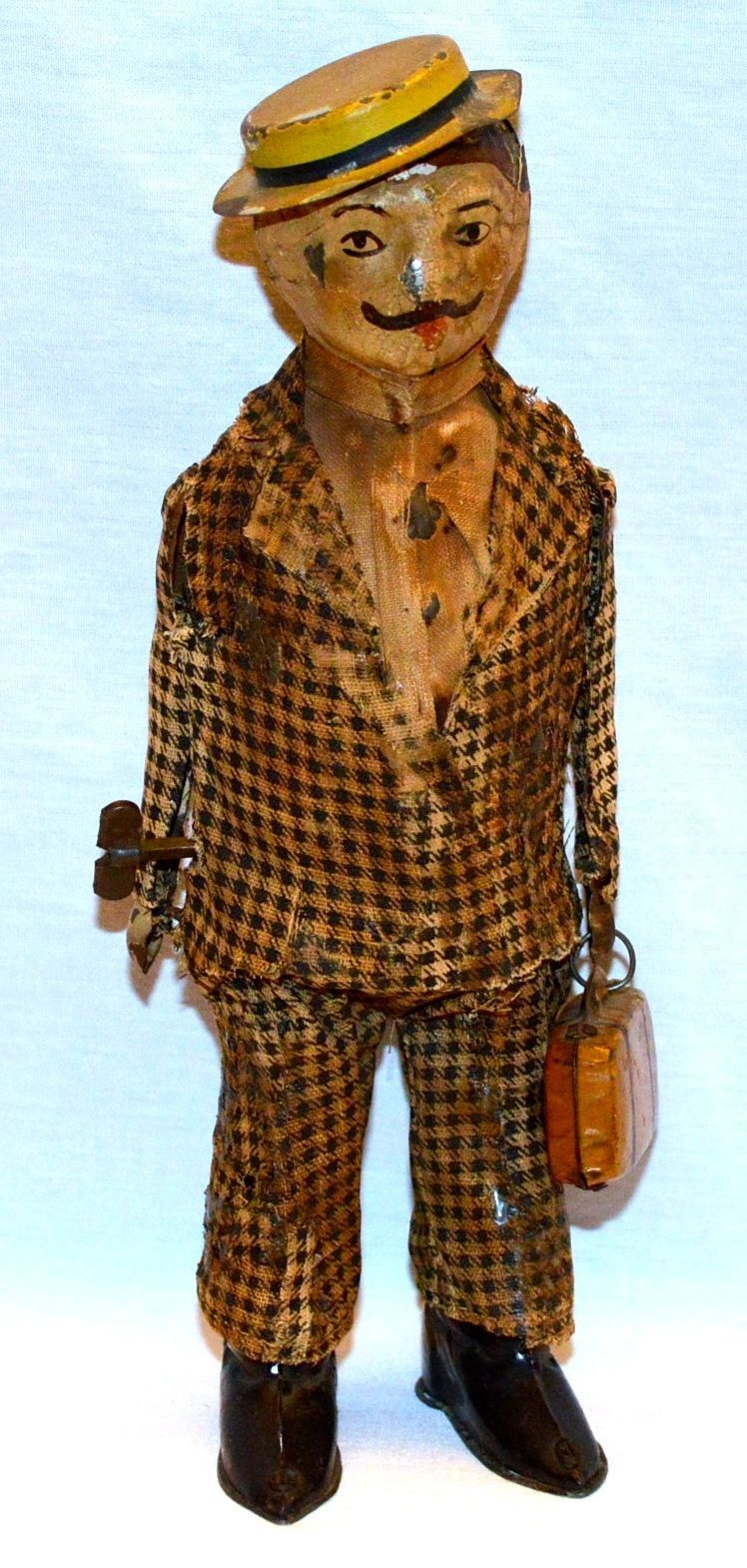 Gunthermann Man with Suitcase. Wind up toy from 1910/ebay