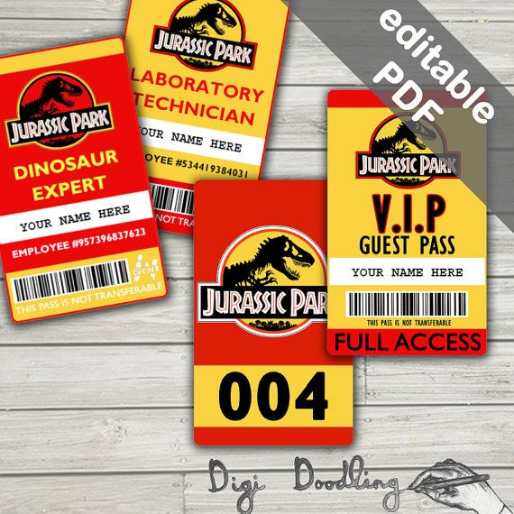 Jurassic Park Costume Jurassic Park ID Badge Visitor Pass Vehicle - Visitor badge template