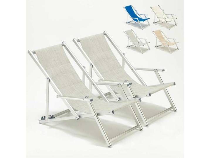 2 Strandstuhle Sonnenliege Mit Armlehne Aluminium Pool Riccione