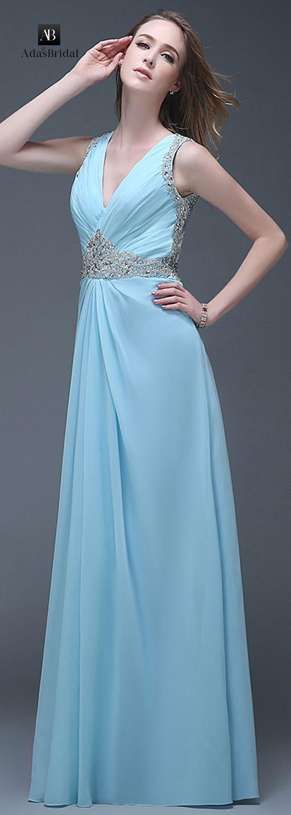 Wonderful chiffon V-neck neckline full-length A-line prom dresses ...