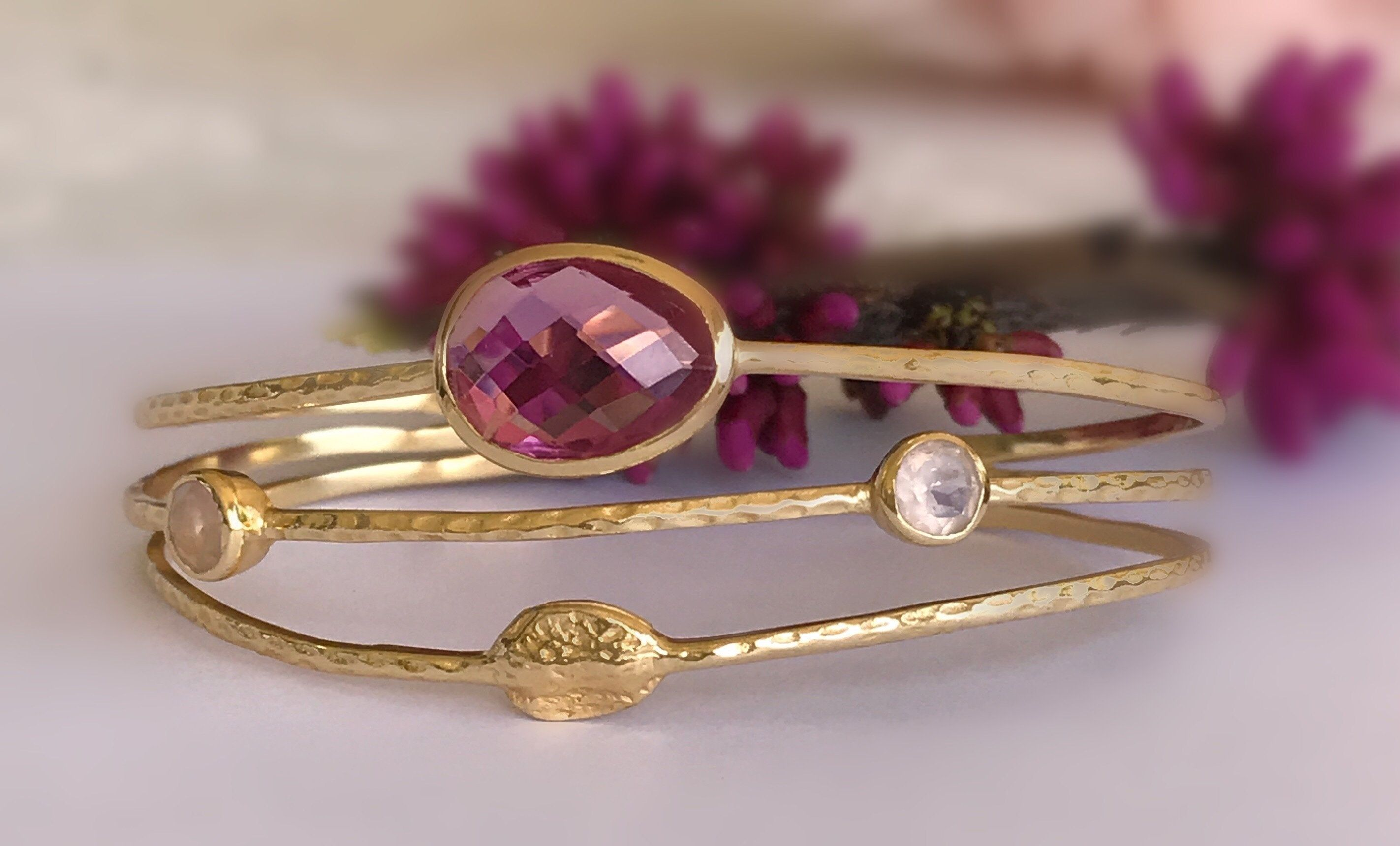 Vintage Charm améthyste rose gemme 925 Argent Bague Pour Femmes Mariage Bijoux