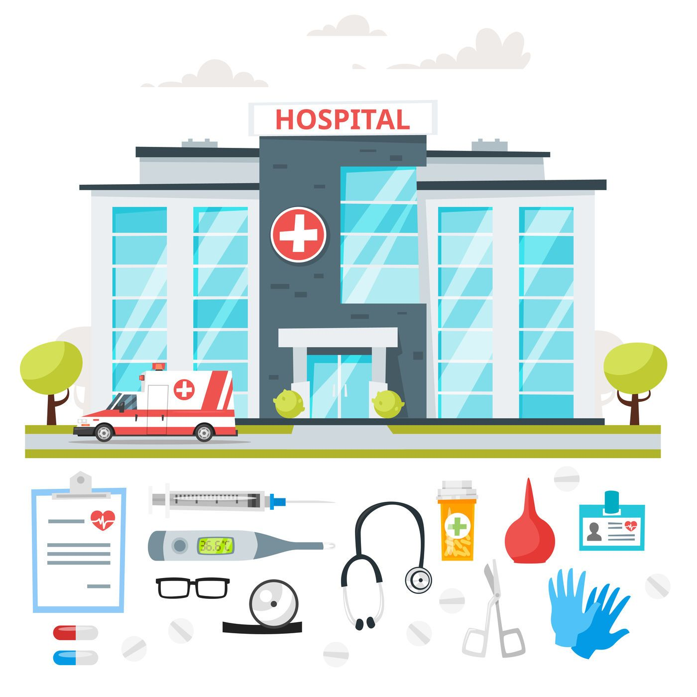Hospital Building And Doctors By Cartoon Time