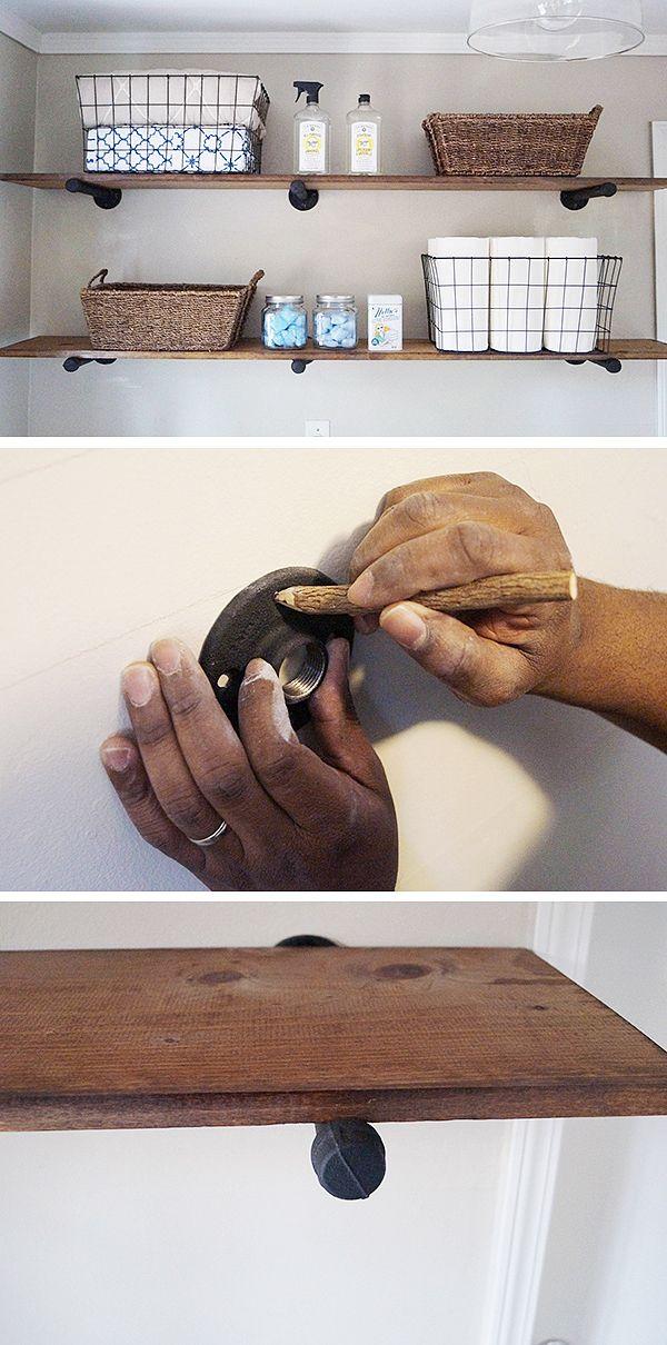 diy laundry room storage ideas pipe shelving handwerker h user waschk che und einrichtung. Black Bedroom Furniture Sets. Home Design Ideas